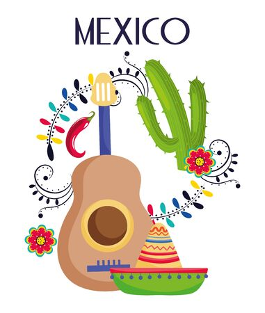 guitar hat cactus flowers mexico traditional event decoration card