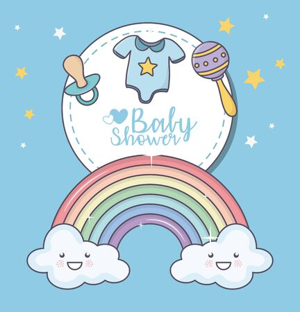 baby shower rainbow cloud cartoon rattle pacifier clothes