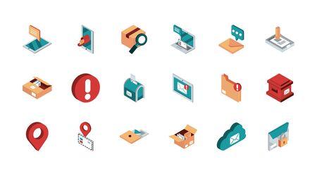 jeu d'icônes isométriques de courrier postal de correspondance Vecteurs