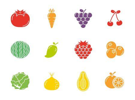 fruits and vegetables fresh icons set flat design