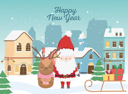 happy new year 2020 celebration santa deer sled with gifts town snow Illustration