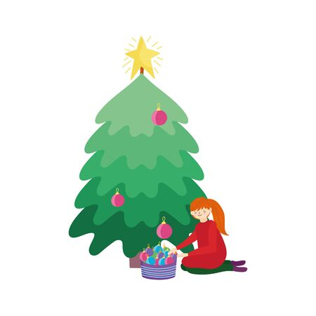 merry christmas woman decorating tree basket balls celebration