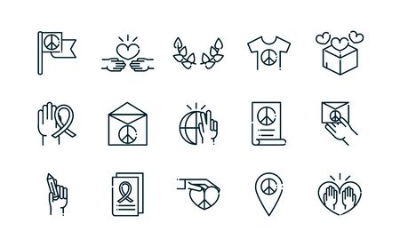 peace and human rights icons set line