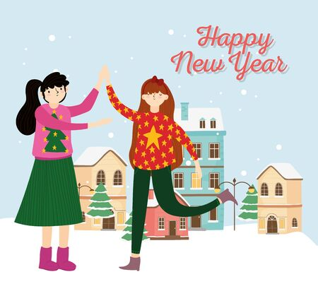 happy new year women with ugly sweater village snow celebration vector illustration