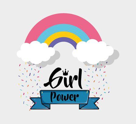 Rainbow of girl power concept vector design