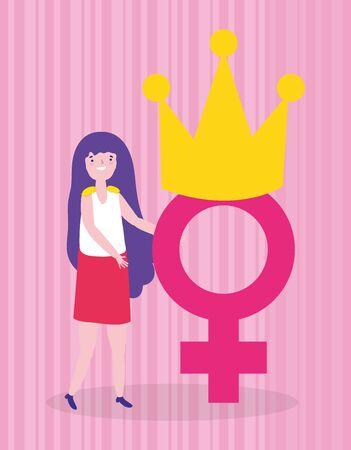 Girl cartoon design, Power strong woman female feminism freedom and fight theme Vector illustration Ilustrace