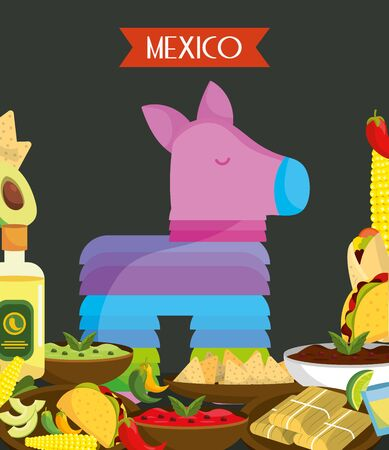 colorful pinata and food mexico traditional event decoration card