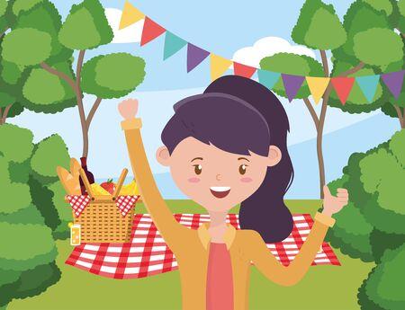 Dibujos animados de mujer con diseño de picnic, fiesta de comida verano ocio al aire libre primavera saludable almuerzo y comida tema ilustración vectorial