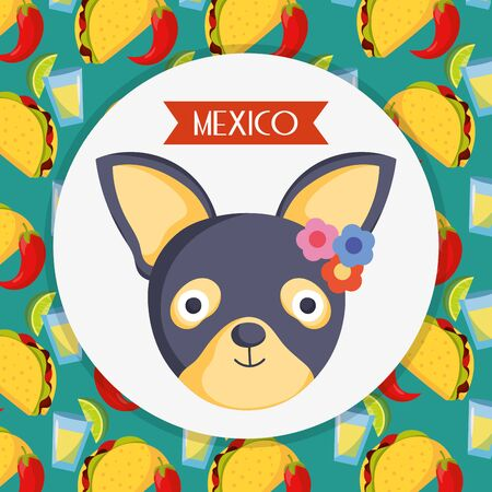 cute dog with flowers and food background mexico traditional event decoration card
