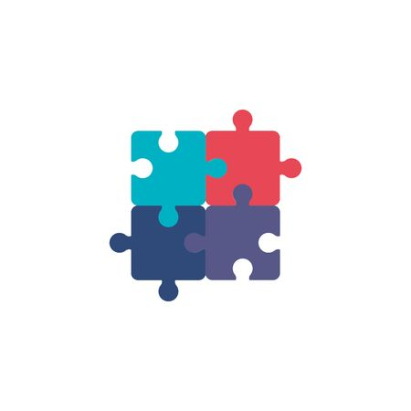 team puzzle pieces flat style icon