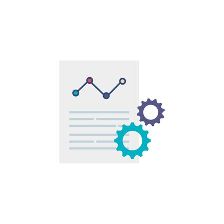 document with gears flat style icon vector illustration design