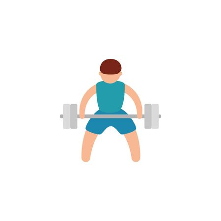 man lifting weight workout accessory vector illustration design