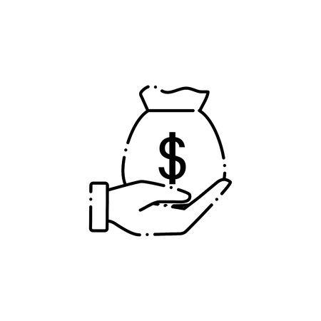 vote money bag line style icon vector illustration design