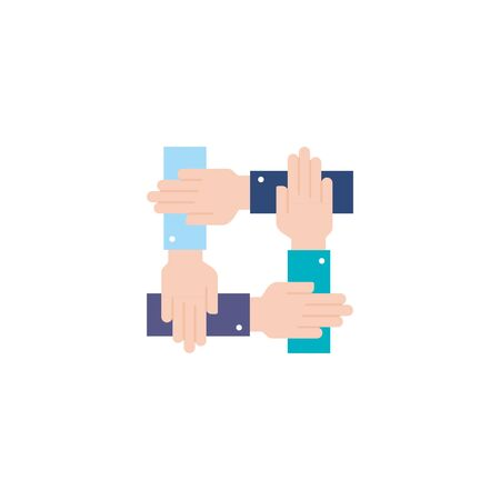 team holding hands flat style icon vector illustration design