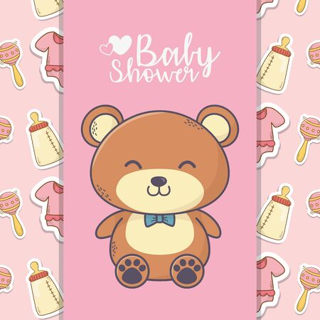 baby shower cute teddy bear toy bottle rattle background Ilustracja