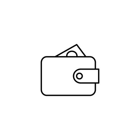 wallet with bill cash line icon vector illustration design