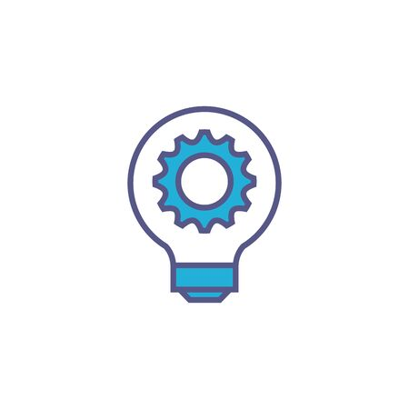 light bulb with gear fill style icon Иллюстрация