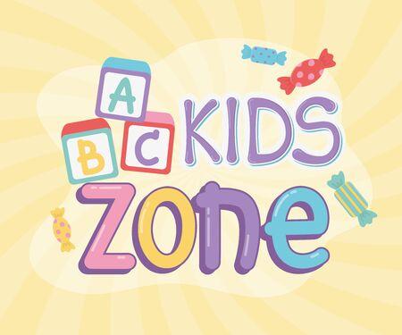 kids zone, alphabet blocks sweet candies design