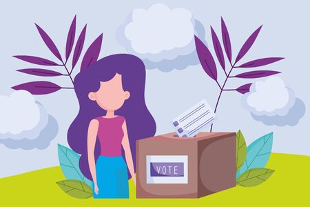 woman with box and ballot paper politics election democracy voting vector illustration