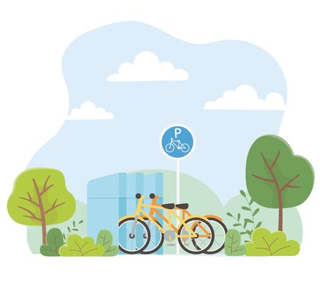urban ecology parking bicycles transport park trees nature Illustration