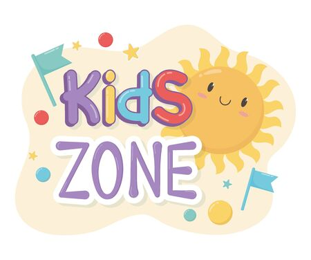 kids zone, cartoon sun flags funny letters Illustration