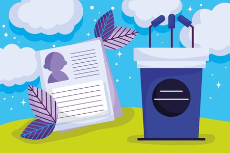 campaign podium microphones politics election democracy voting vector illustration Ilustrace