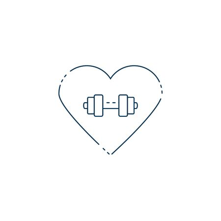 heart with dumbbell weight lifting workout accessory vector illustration design
