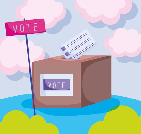 world ballot box politics election democracy voting vector illustration