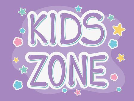 kids zone font creativity stars purple background