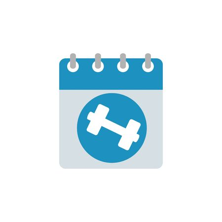 calendar reminder with dumbbells line style icon