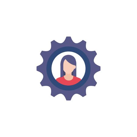 business woman in gear flat style icon