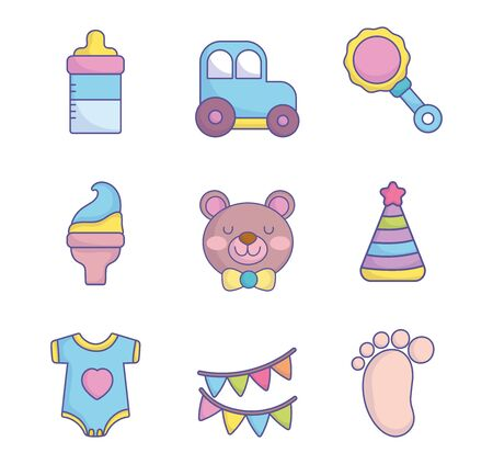 baby shower clothes toys accessories icons collection on white background vector illustration Ilustracja
