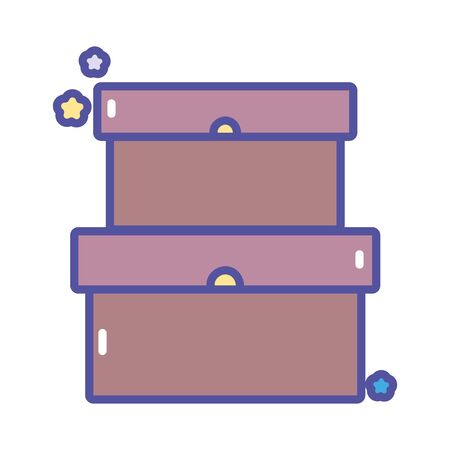 back to school education cardboard boxes storage vector illustration