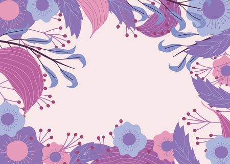 background flowers leaves foliage decoration floral vector illustration