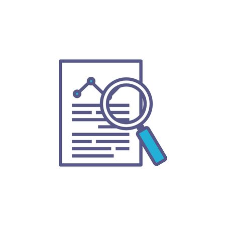document with magnifying glass fill style icon vector illustration design