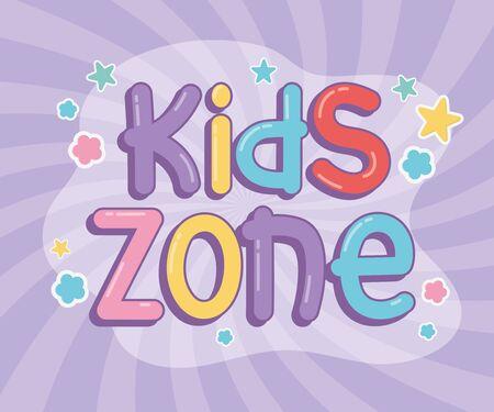 kids area, fun font colored stars sunburst background