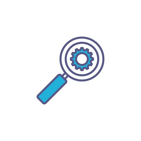 magnifying glass with gear fill style icon vector illustration design