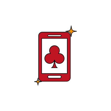 Isolated casino smartphone and clover fill design