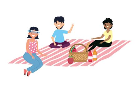 People having picnic vector design