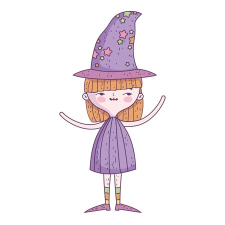 happy halloween celebration girl with hat costume vector illustration Foto de archivo - 134549407