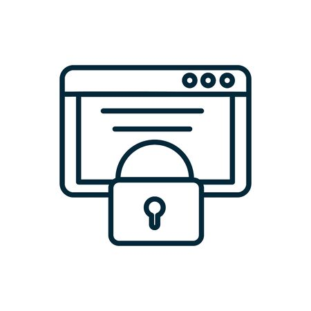 tablet data security internet of things line icon