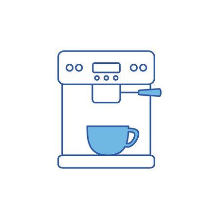 Coffee machine design, drink breakfast beverage shop morning restaurant theme Vector illustration Vetores