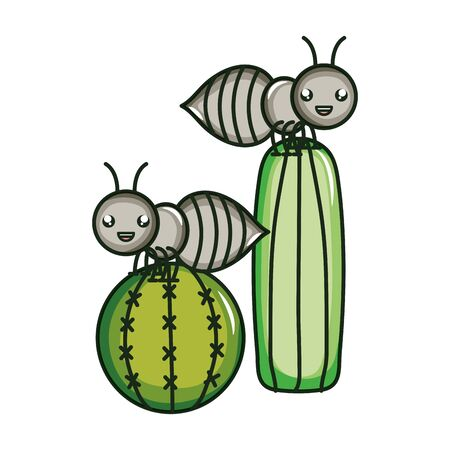 exotic cactu with ants kawaii character vector illustration design