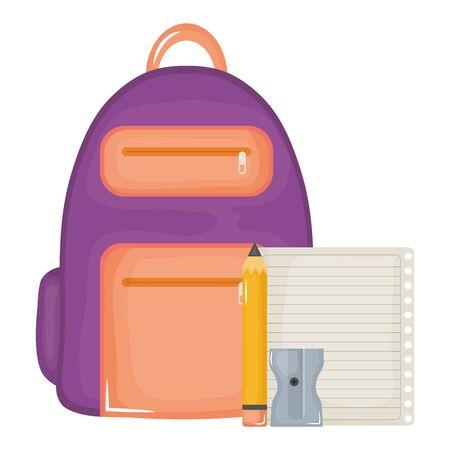 notebook school supply with schoolbag vector illustration design