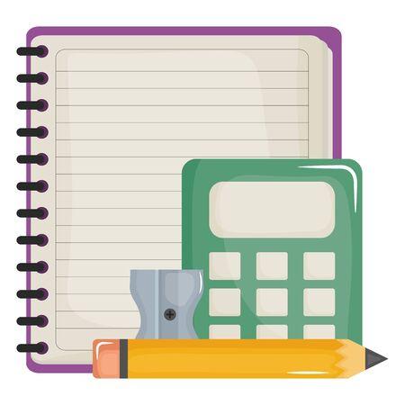 notebook school supply with calculator vector illustration design