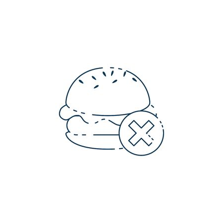 hamburger with denied symbol icon