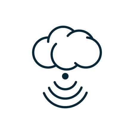 connessione cloud computing icona linea internet delle cose