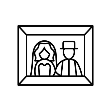 just married couple photo line style vector illustration design