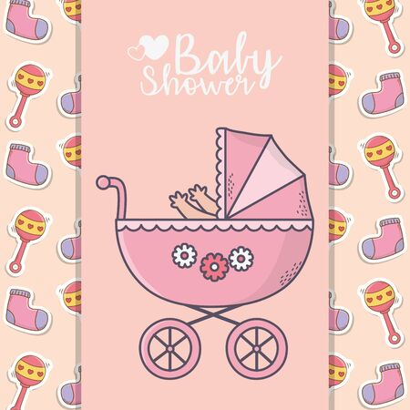 baby shower pink pram with socks and rattle background banner