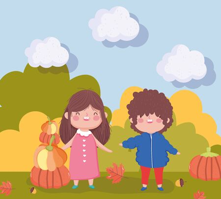 happy thanksgiving family, little boy and girl with pumpkins in the outdoors vector illustration